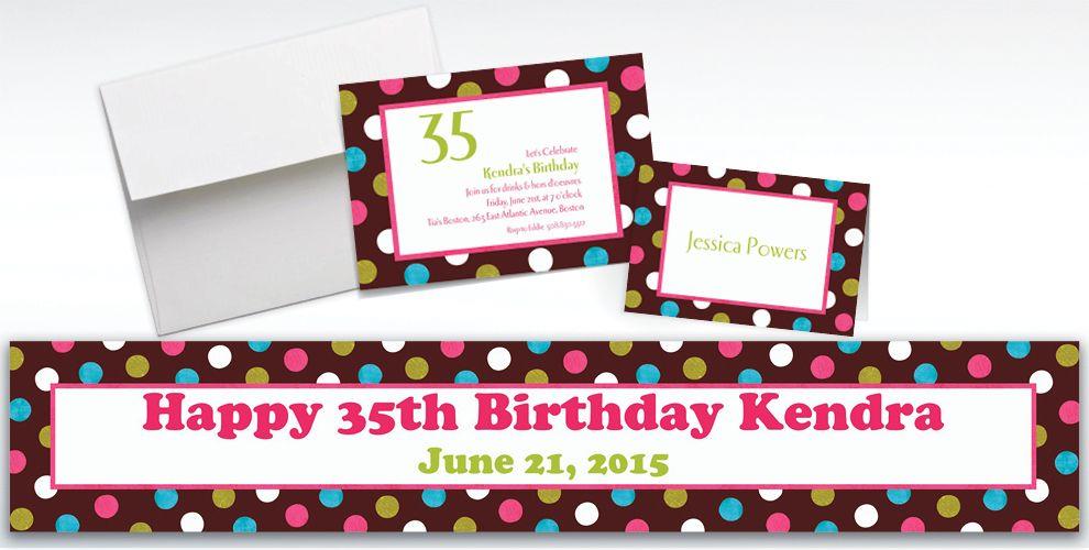 Custom Chocolate and Dots Polka Dot Invitations and Thank You Notes