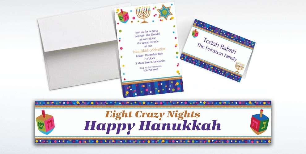 Custom Hanukkah Celebrations Invitations and Thank You Notes