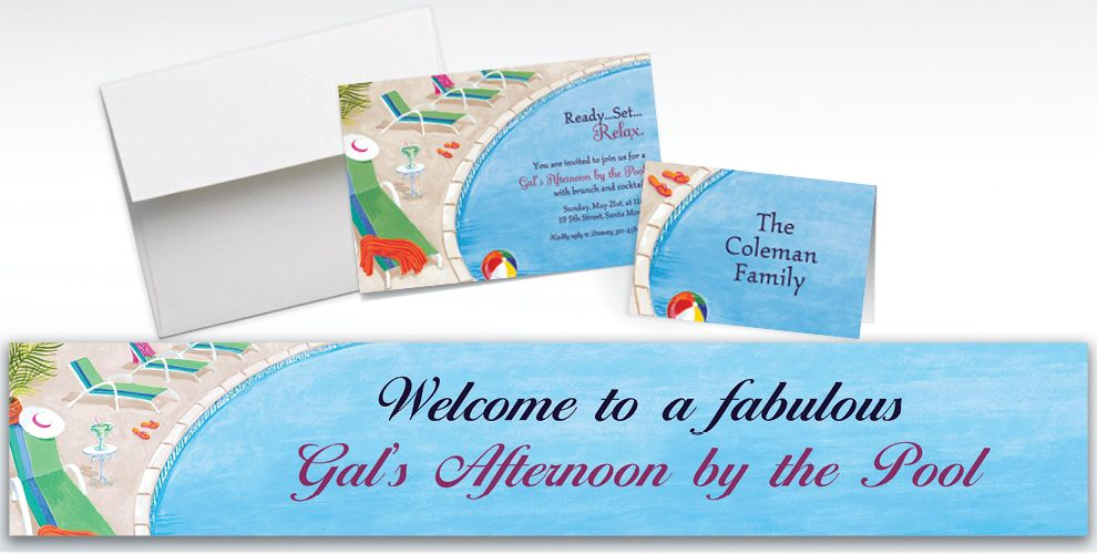 Custom Lounging by the Pool Summer Invitations and Thank You Notes