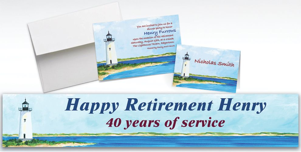 Custom Classic Lighthouse Invitations and Thank You Notes