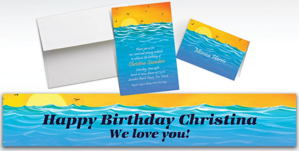 Custom Painterly Sunset View Invitations and Thank You Notes