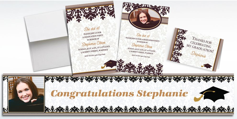 Custom Black and White Graduation Invitations and Thank You Notes