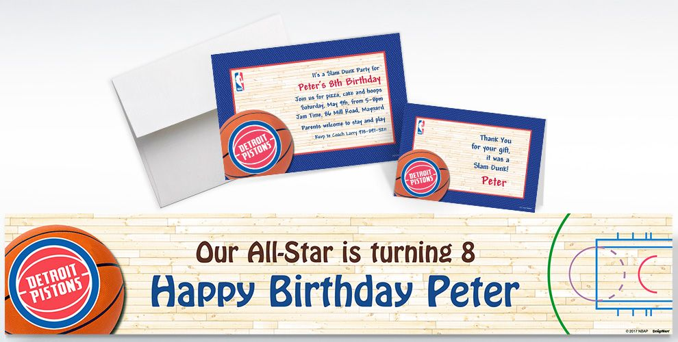 Custom Detroit Pistons Invitations and Thank You Notes
