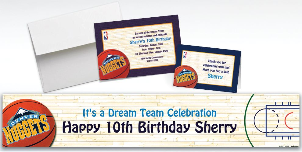 Custom Denver Nuggets Invitations and Thank You Notes