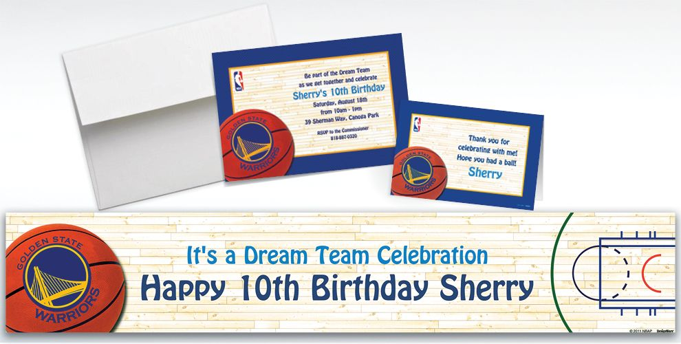 Custom Golden State Warriors Invitations and Thank You Notes