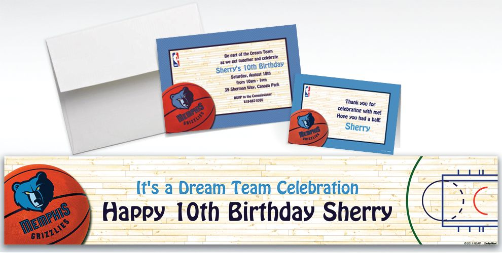 Custom Memphis Grizzlies Invitations and Thank You Notes
