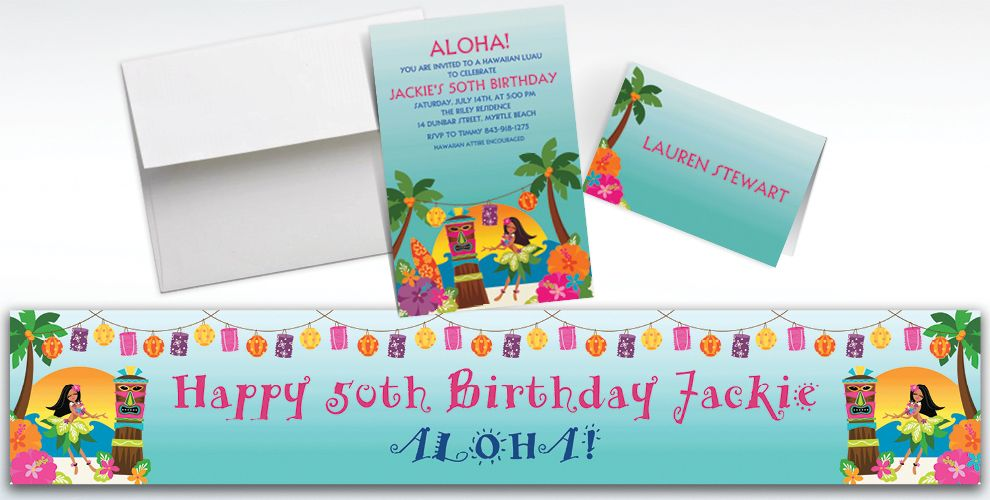 Custom In the Shade Luau Invitations and Thank You Notes