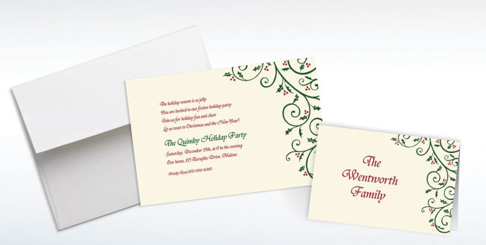 Custom Delicate Holly Scroll Invitations and Thank You Notes