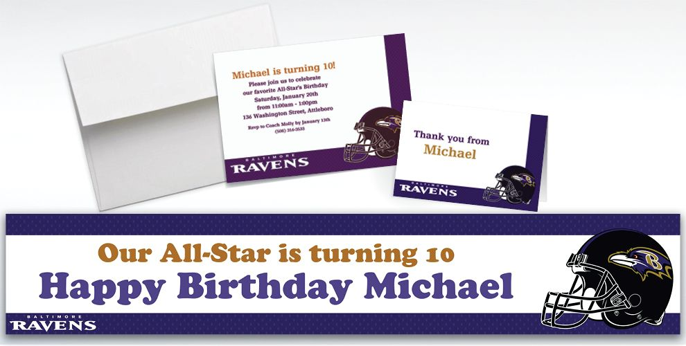 Custom Baltimore Ravens Invitations and Thank You Notes