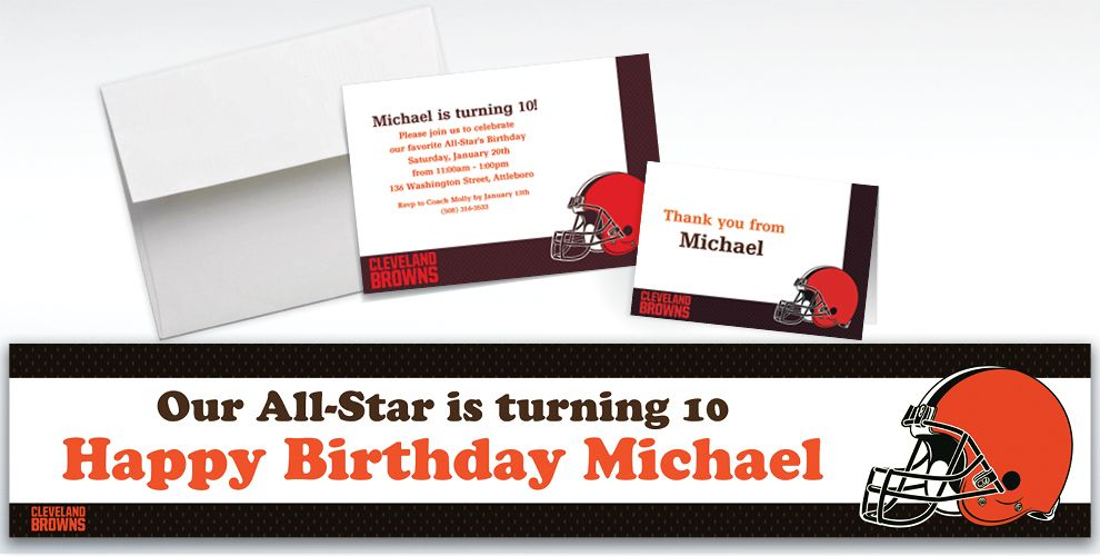Custom Cleveland Browns Invitations and Thank You Notes