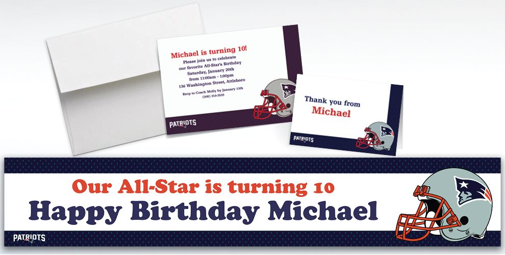 Custom New England Patriots Invitations and Thank You Notes
