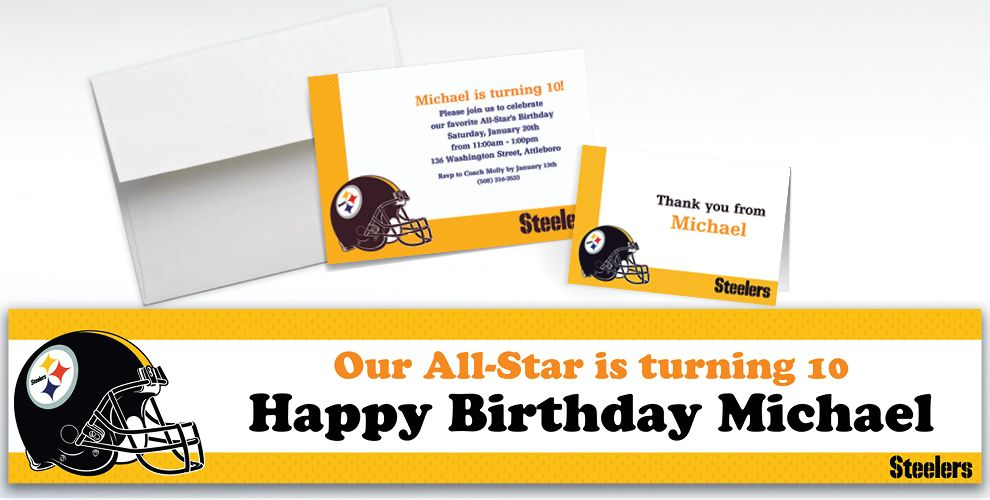 Custom Pittsburgh Steelers Invitations and Thank You Notes