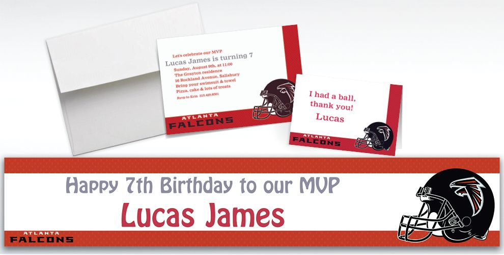 Custom Atlanta Falcons Invitations and Thank You Notes