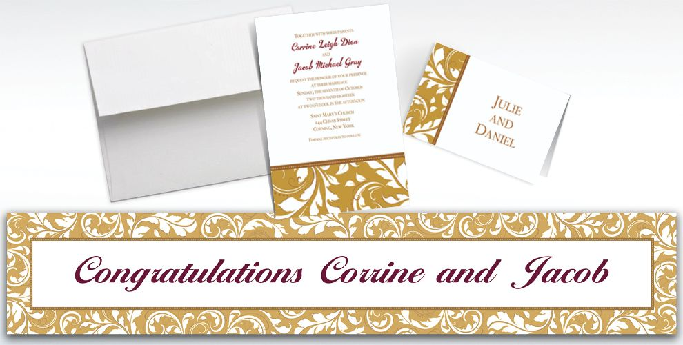 Custom Golden Wedding Invitations and Thank You Notes