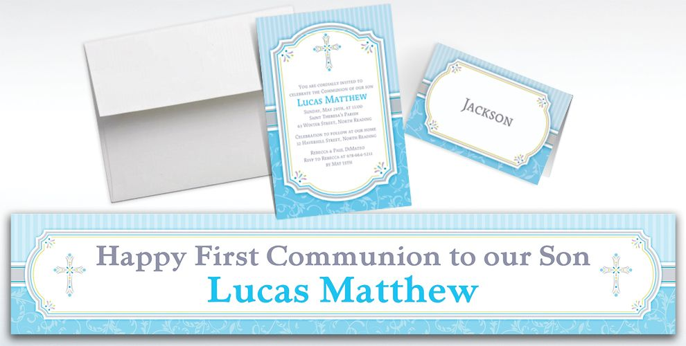 Custom Blue Communion Blessings Invitations and Thank You Notes