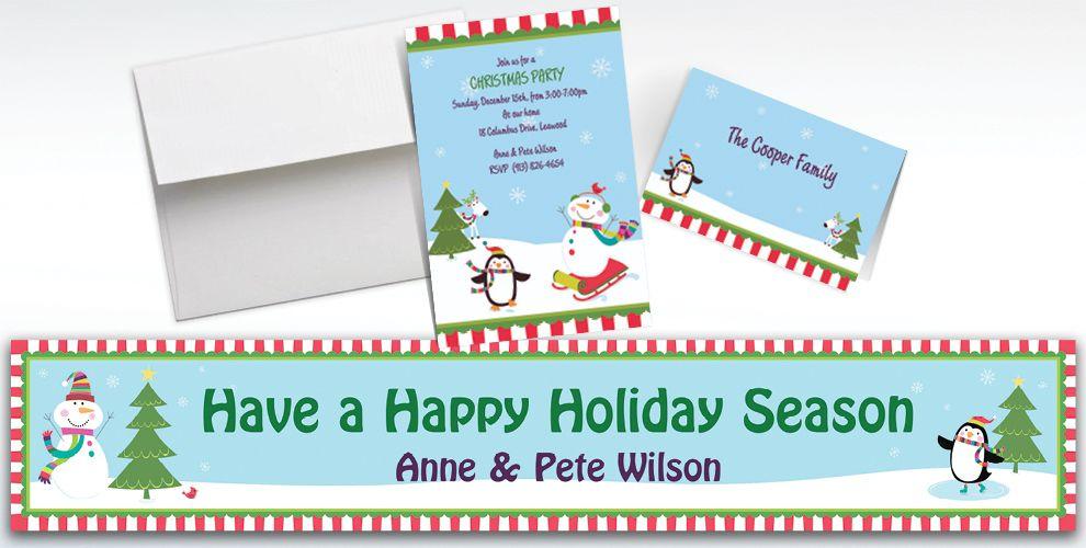 Custom Joyful Snowman Invitations and Thank You Notes