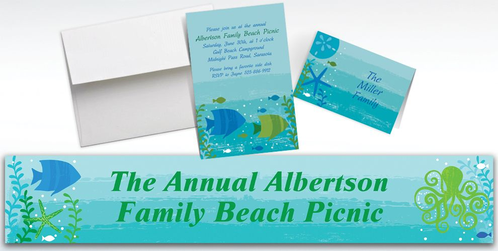 Custom Cool Sea Invitations and Thank You Notes