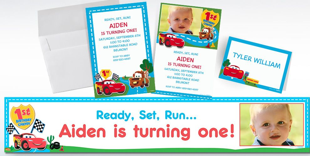 Custom Cars 1st Birthday Invitations and Thank You Notes