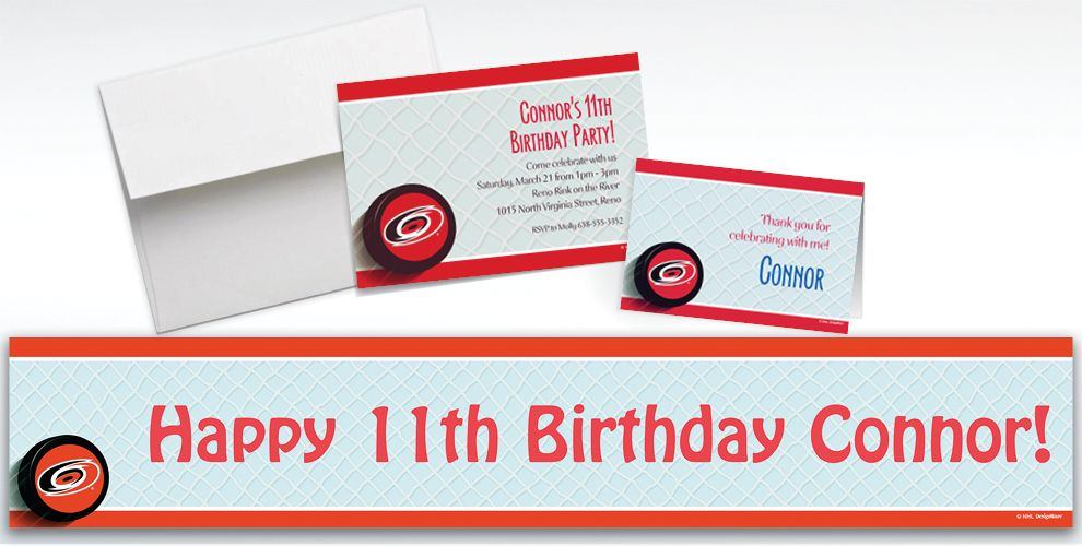 Custom Carolina Hurricanes Invitations and Thank You Notes