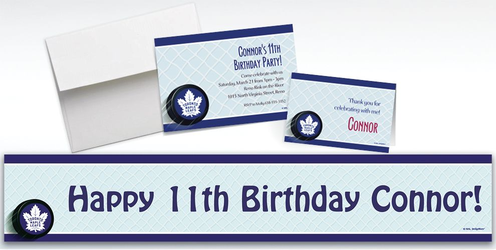 Custom Toronto Maple Leafs Invitations and Thank You Notes