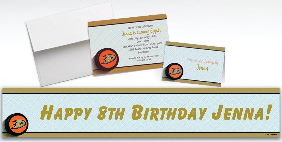 Custom Anaheim Ducks Invitations and Thank You Notes