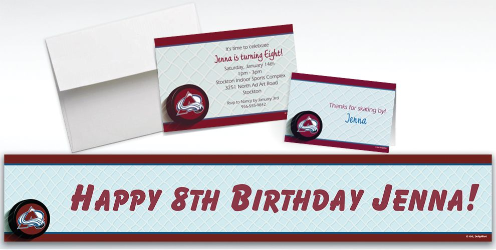 Custom Colorado Avalanche Invitations and Thank You Notes