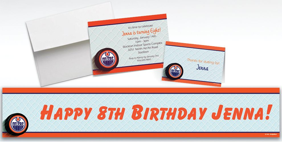Custom Edmonton Oilers Invitations and Thank You Notes
