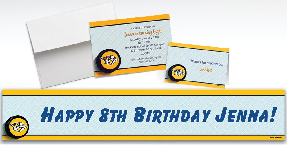 Custom Nashville Predators Invitations and Thank You Notes