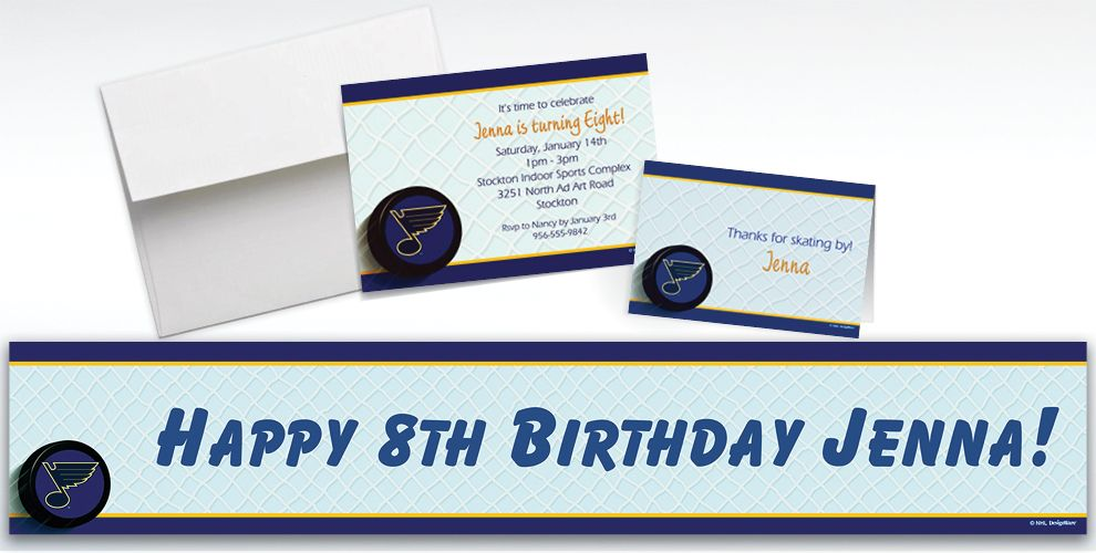 Custom St. Louis Blues Invitations and Thank You Notes