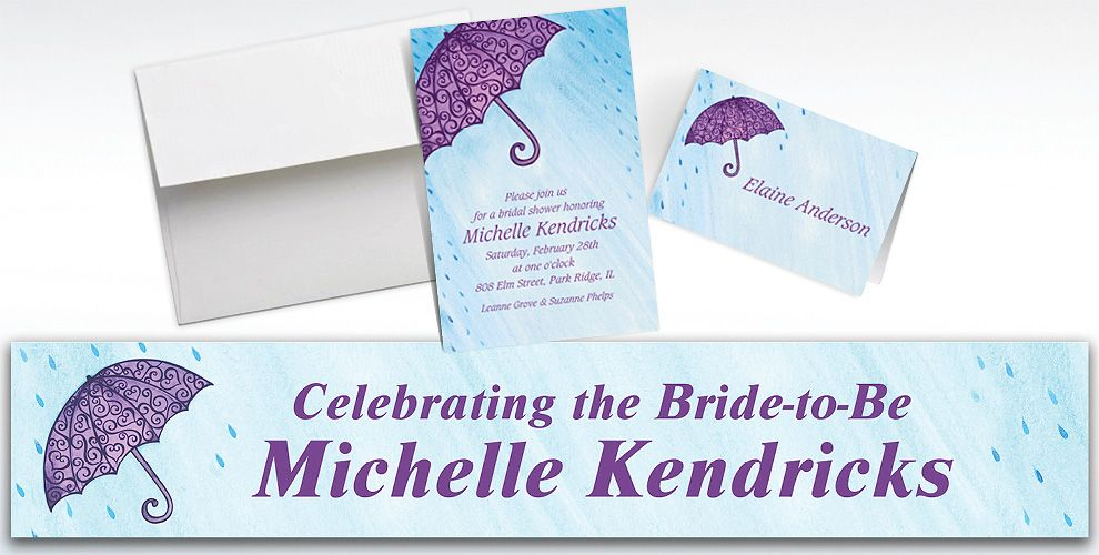 Custom Filigree Umbrella Bridal Shower Invitations and Thank You Notes