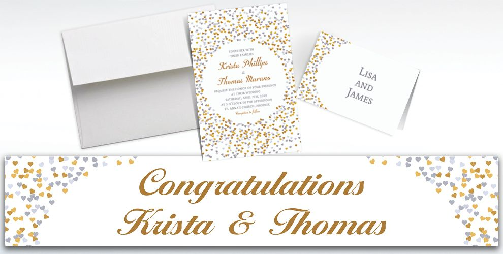 Custom Bunches of Hearts Gold Wedding Invitations and Thank You Notes