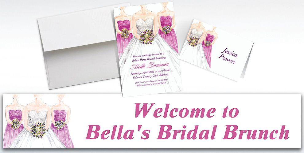 Custom Bridesmaids Bridal Shower Invitations and Thank You Notes