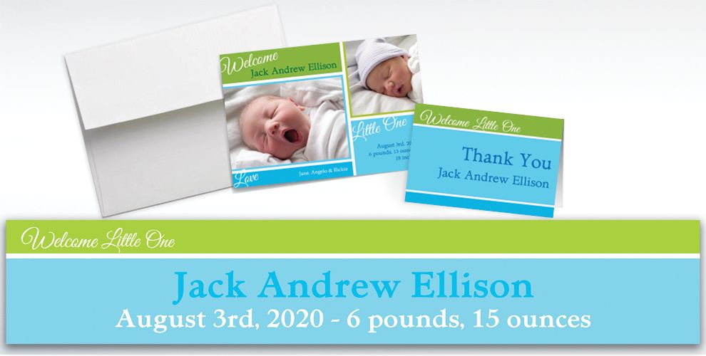 Custom Welcoming Words Boy Announcements, Thank You Notes and Banners