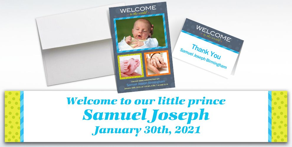 Custom Welcome to the World Boy Announcements, Thank You Notes and Banners