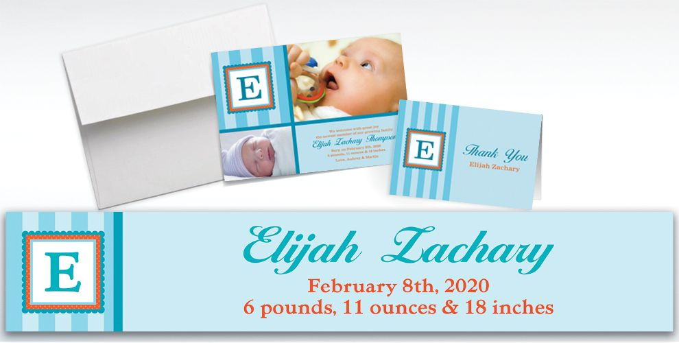 Custom Jumbo Initial Boy Announcements, Thank You Notes and Banners