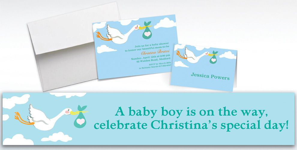 Custom Stork and Baby Bundle Invitations and Thank You Notes
