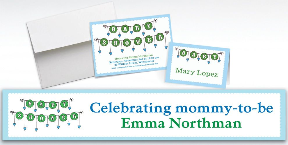 Custom Baby Clothesline Boy Invitations and Thank You Notes