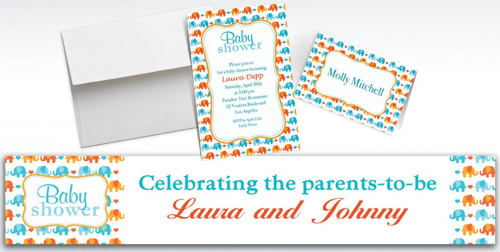 Custom Baby Elephant Pattern Boy Invitations and Thank You Notes