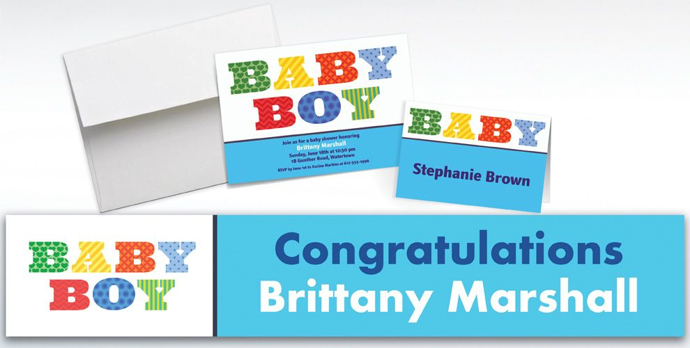Custom Big Baby Boy Invitations and Thank You Notes