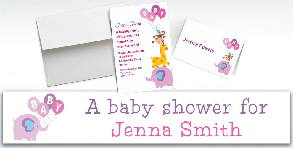 Custom Animals with Girl Balloons Invitations and Thank You Notes