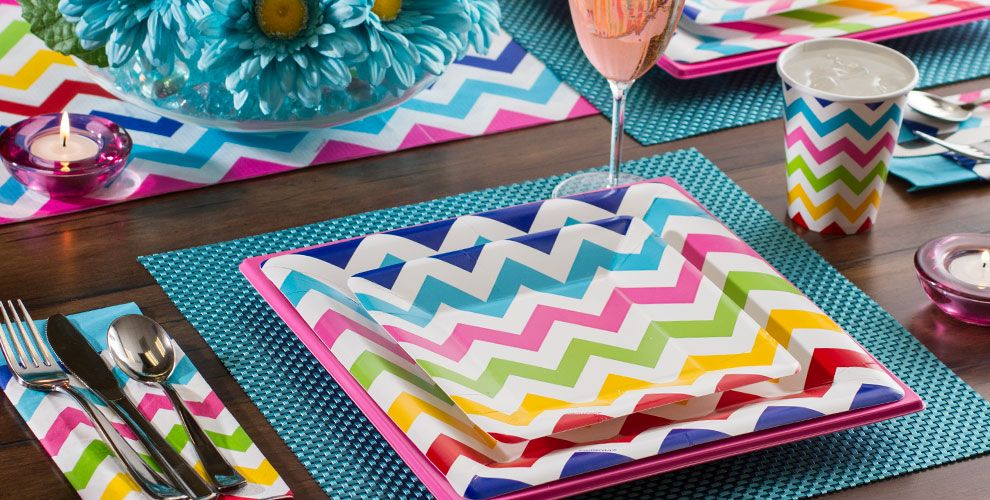 Bright Rainbow Chevron Party Supplies