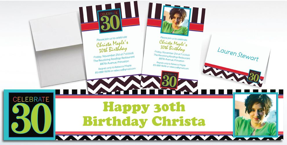 Custom 30th Birthday Invitations and Thank You Notes