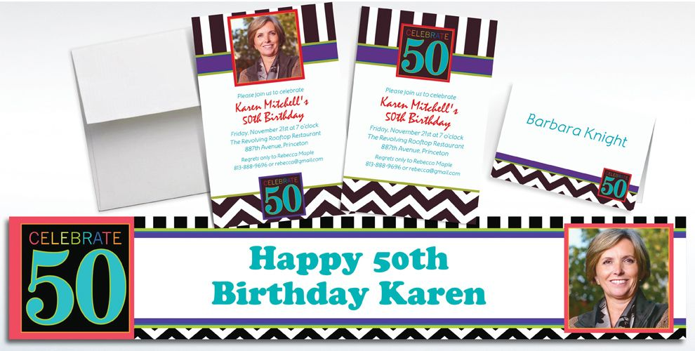 Custom 50th Birthday Invitations and Thank You Notes