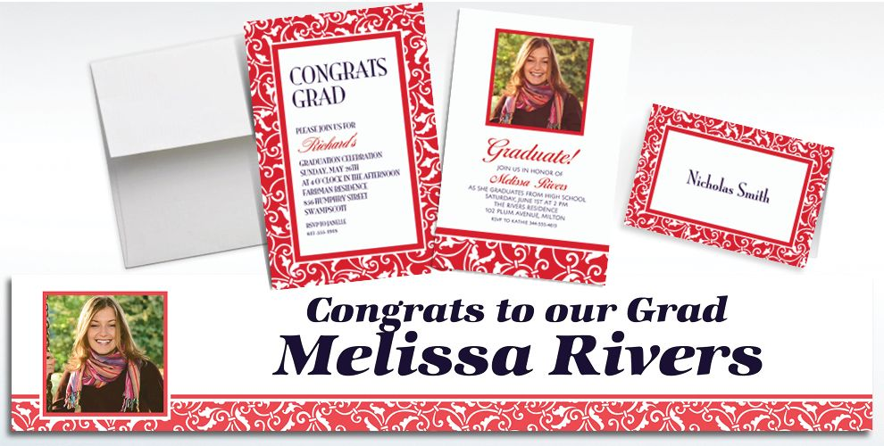 Custom Red Ornamental Scroll Invitations and Thank You Notes