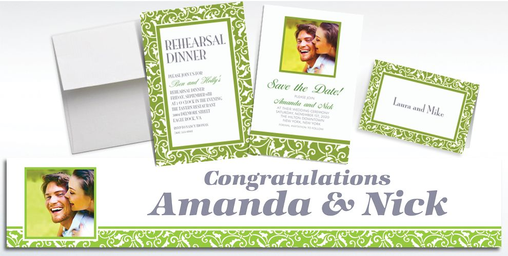 Custom Kiwi Ornamental Scroll Invitations and Thank You Notes