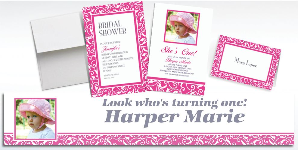 Custom Bright Pink Ornamental Scroll Invitations and Thank You Notes