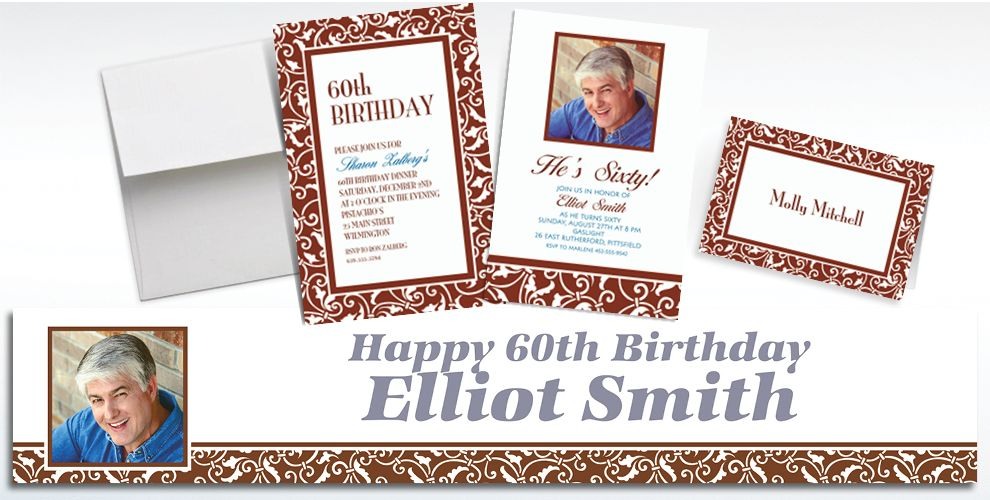 Custom Chocolate Brown Ornamental Scroll Invitations and Thank You Notes