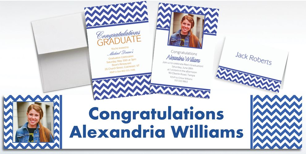 Custom Royal Blue Chevron Invitations and Thank You Notes