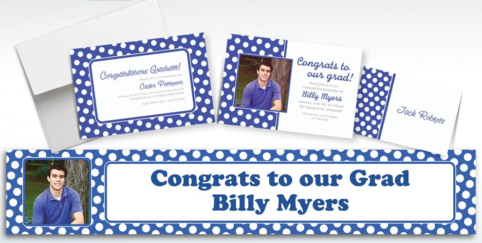 Custom Royal Blue Polka Dot Invitations and Thank You Notes