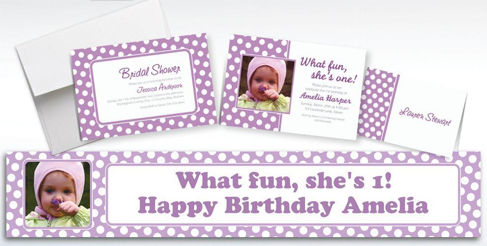 Custom Lavender Polka Dot Invitations and Thank You Notes